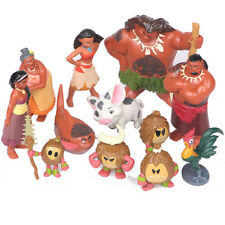 12 pc Oceania Adventure Moana Heihei Tamatoa Chief Tui Sina Tala Figures Toy Set