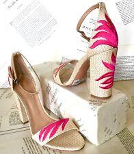 Schutz Sandal Heel Woven Raffia Embroidery  tan pink 7 New