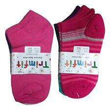 6 Pair Trimfit Girl's Size 9 -11 Multi Color Solids & Stripe Low Cut Ankle Socks
