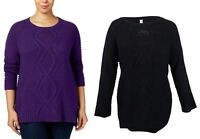 NY Collection Women's Plus Size Cable Knit Scoop Neck Pullover Sweater