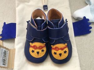 Easy Peasy Blue Kiny Bear Booties Baby Shoes 9 - 12 months (20/21) NEW with Bag!