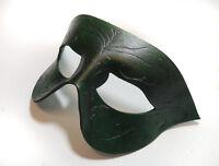 Green Swirls Simple Pointed Leather Handmade Mask Venetian Masquerade