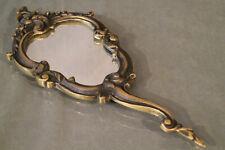 Miroir face à main en bronze de style Rocaille Louis 15