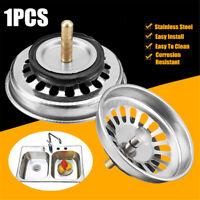 Kitchen Stainless Steel Waste Sink Strainer Plug Drain Filter Basket Drainer UK