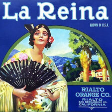 Vintage Original LA REINA SPANISH SENORITA Citrus Fruit Box Crate Label 1920s