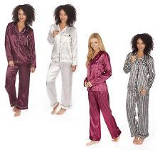 LADIES SATIN PYJAMA SET SILKY NIGHT WEAR PLAIN & STRIPED WOMENS UK 8-22 BNWT
