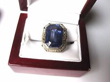 ANTIQUE 14K 2-tone W/G FILIGREE RING with HUGE LAB CREATED SAPPHIRE& SEEDS PEARL