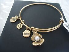 ALEX AND ANI OYSTER Russian Gold Finish Charm Bangle New W/ Tag Card & Box