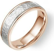 MENS 14K WHITE AND ROSE GOLD WEDDING BANDS,HAMMERED FINISH 5.5MM WEDDING RINGS
