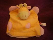 Doudou vache rose vert jaune marionnette  TEX
