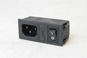 Qualtek IEC Power Jack Switch Input Module Fused Panel Mount IEC320 120v 250v 6A