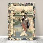 "Beautiful Japanese GEISHA Art ~ CANVAS PRINT 24x18"" Yamashiro River Sadacage #2"