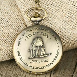 Bronze To My Son The Lion King Boy Pocket Watch Quartz Necklace Chain Best Gifts