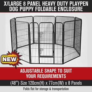 """48"""" 8 Panel Pet Dog PlayPen Dog Crate Heavy Duty Foldable Enclosure Fence XLarge"""