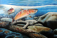 Trout Fishing Lake River Feeding Pair 24X36 Oil On Canvas Painting  Stretched