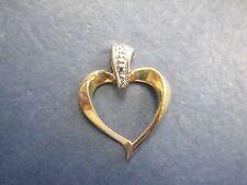 Beautiful 10K Yellow & White Gold open Heart Pendant Charm ladies cute love LQQK