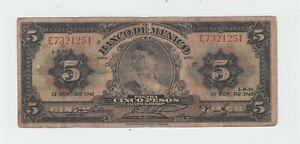 Banco de Mexico 5 Pesos Note 1941 // World Money bill