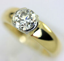 Diamond solitaire engagement ring 18K yellow gold European cut round bezel 1.25C