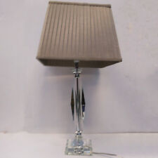 Glass Table Lamp w/Beige Pleated Shade Traditional Home Lamp CLEARANCE Litecraft