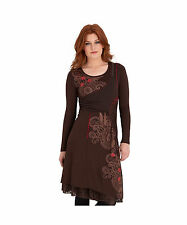 Viscose Long Sleeve Midi Round Neck Dresses for Women