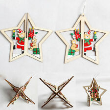 1X 3D Wooden Christmas Tree Star Pendants Ornament Xmas Hanging DIY Decor Crafts