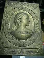 ANTIQUE  BRASS  BAS  RELIEF    PORTRAIT  OF A  YOUNG GIRL  LARGE  VICTORIAN?