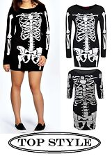 Nuevas señoras MUJERES Esqueleto BODYCON VESTIDO HALLOWEEN impresión Midi tamaño 8,10,12