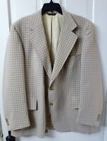 44R Vintage 70's 2-Button Sport Coat Blazer Jacket Light Brown Plaid Multicolor