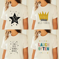 Funny Women White Casual T-shirt Letters Printed Round Neck Tee Short Sleeve Top