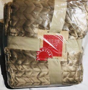 Martha stewart chevron Quilted Faux Fur Throw Blanket 60x50  Brown