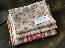 Antique Vintage French Fabric Coordinated Bundle For Projects Floral Vichy
