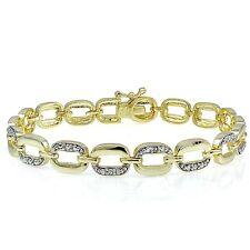 Genuine Diamond Accent Rectangle Link Bracelet in Gold Tone