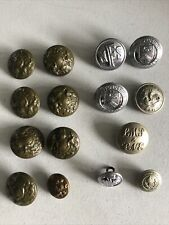 More details for vintage job lot 15 assorted fire brigade and railway buttons sold as seen