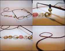 Handmade Earth Tone Brown Pink Glass Beads Eyeglass Lanyard Chain