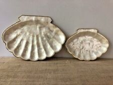 2 Vintage Capiz Trays Plates Pearl Oyster Shell Philippines 1970's Beach Cottage