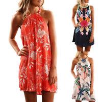 Women Sexy Sleeveless Summer Evening Cocktail Mini Dress Halter Neck Floral Boho
