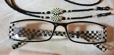 Handmade Black & White Check Reading Glasses Readers 3.25 Matching Chain courtly