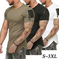 Men's Slim Fit O Neck Short Sleeve zipper Muscle Tee T-shirt Casual Blouse Tops