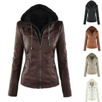 Womens Leather Hooded Jacket Slim Parka Coat Overcoat Trench Winter Outwear