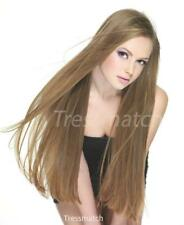 """20""""-22"""" Light Ash Brown Thick Full Head Real Remy Human Hair Extensions Clip in"""