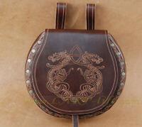 Große Gürteltasche Doppel-Drache für Wikinger und Mittelalter Rind-Leder Tasche