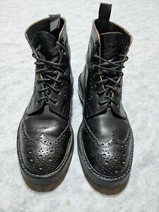 Mens Vintage TRICKER'S 5363 Black Leather Brogue Ankle Boots Mismatch Size 41/7