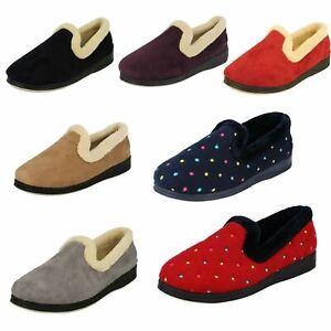 Ladies Padders Memory Foam Wide Fit Slip On Soft Textile Comfort Slippers Repose