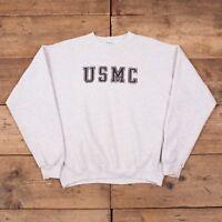 "Mens Vintage Santee Puma USMC Grey Sweatshirt Jumper USA Made XL 46"" R10130"