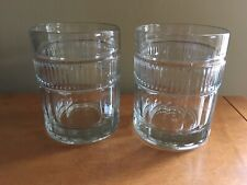 2 Vintage Anchor Hocking Double old fashioned Annapolis highball Clear Glasses