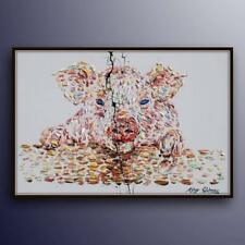 "Painting 40"",  Pig original oil Painting  on canvas, animal, Modern Art, impasto"