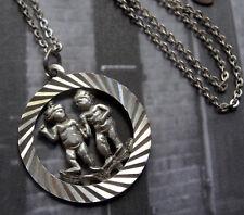 vintage 925 STERLING SILVER Gemini twins modernist pendant chain necklace -6