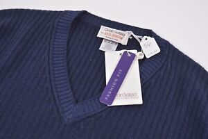 Gran Sasso NWT Sweater Size US 46 XL Ribbed Blue V Neck Wool Fashion (Slim) Fit
