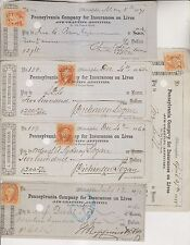 60 1860s-70s CANCELLED CHECKS - PENNSYLVANIA COMPANY FOR INSURANCES ON LIVES
