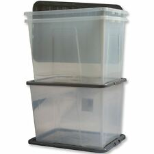 2 x 80 LITRE PLASTIC STORAGE BOX -X LARGE -STRONG CONTAINER -BLACK LID -FREE P&P